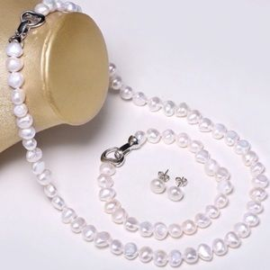 Jewelry - NEW Baroque Freshwater Pearl Set 8-9mm 18 inches